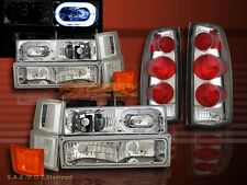 1994-1998 CHEVY FULL SIZE HEADLIGHTS HALO 10 PCS + ALTEZZA TAIL LIGHTS CLEAR