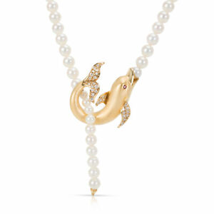 Carrera y Carrera Diamond Textured Dolphin Necklace in 18K Yellow Gold 0.15 CTW