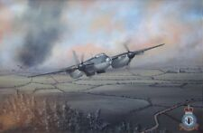 ORIGINAL WW2 MILITARY AVIATION ART PAINTING RAF MOSQUITO FIGHTER BOMBER WWII