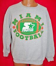 Vintage UNIVERSITY OF MIAMI Hurricanes Football STARTER Sweatshirt L Made In USA