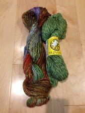 Hand Dyed Silk Wool Art Yarn - Gold - Green - Orange - Purple - Scarf Kit