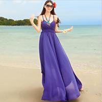 Womens Summer V-neck Open Back Swing Chiffon Dress Sexy Evening Party Long Dress