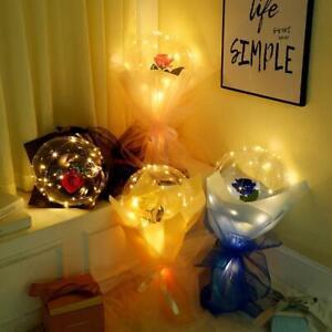 LED Luminous Balloon Transparent Bouquet Bobo Rose Ball Valentine's Day Decors
