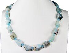 Wunderschöne Edelsteinkette aus Aquamarin Roh-Steinen in Freiform
