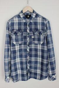 G-STAR RAW LANDOH Men's X LARGE Checked Blue Snap Buttons Shirt 34523_GS