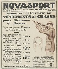 Z9944 NOVASPORT - Vetements de Chasse -  Pubblicità d'epoca - 1937 Old advert