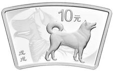 China 10 Yuan 2018 Lunar - Hund / Dog  Ringbarren 30 gr. Silber PP