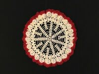 """Vintage Crochet Doily Red and Ivory with Scalloped Edge - Round 10"""""""