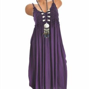 Summer Women Lace Casual Loose Solid Short Dress Crew Neck Sleeveless Tank Dress