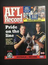 FOOTBALL RECORD AUSTRALIA VS IRELAND INTERNATIONAL RULES SERIES 1999