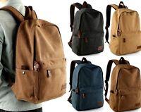 Men's Vintage Canvas backpack Rucksack Shoulder travel Camping Bag Satchel New