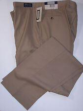 NWT SANSABELT 4 SEASONS WOOL BLEND FLAT FRONT DRESS PANTS TAN 52 REG UNHEMMED