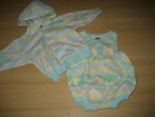 Baby 6-9 Mo 2-PC SHORT OUTFIT Jacket Hoodie Romper Cotton Knit Green Yellow Kite