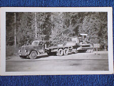 Caterpillar Tractor Loaded on Back of Late 1940s Tractor Trailer Truck/Snapshot