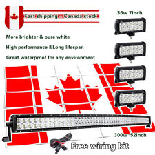 "52 inch LED Light Bar Curved + 4X 7"" LED Work Light Bar Offroad Ford Jeep ATV 50"