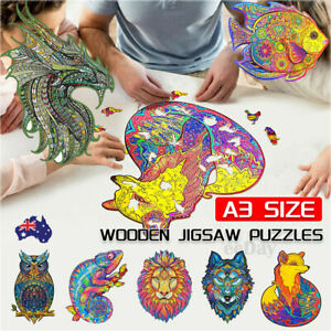 A3 Wooden Jigsaw Puzzles Unique Animal Shape Adult Kid Child Toy Gift Home Decor