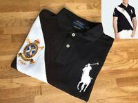 Ralph Lauren Big Pony Banner Polo Men Short Sleeve Black Shirt Custom Slim Fit