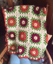 New Handmade Crochet Autumn Afghan Flowers Granny Square Orange, Cranberry, Aran