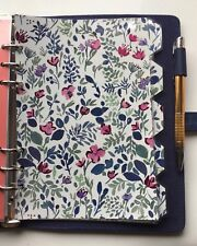 Filofax A5 Organiser Planner - Beautiful Blue Floral Dividers - Fully Laminated