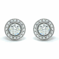 Pave Stud Earrings with White Clear Round Crystals from Swarovski Rhodium Plated