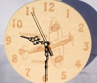 Round Wooden Wall Clock - Aircraft - Spitfire - Blenheim - Personalised Gifts