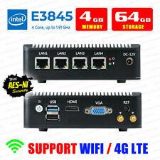 Intel Atom® E3845 4 LAN 3G/4G 4G RAM/64G SSD Fanless pfSense Firewall AES-NI