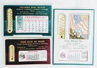 Lot of 3 Oil Real Estate Gift Thermometer  Salesman Sample Calendar 1977/78 NOS