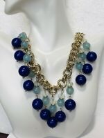 Late 1900's Vintage Ann Taylor Blue Beaded Silver Chain Link Necklace Jewelry