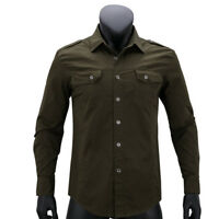 Mens Long Sleeve Casual shirts Stylish Hot cotton slim camo military army denim