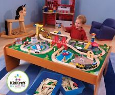 Wooden Train Set And Table For Kids Activity Play Fun Rail Way Town Quality Gift