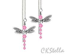 *CKS*  Dragonfly w/ Swarovski Light Pink Sterling Silver Thread Threader Upick