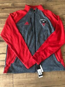 Men's Adidas DC United Gray/Red Full Zip Jacket Sz S NWT
