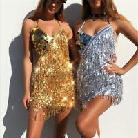 Womens Sequins Dress Festival Costume Glitter Party Backless Tassel Mini Dresses