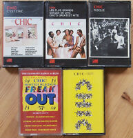 CHIC 5x UK CASSETTE TAPES - C'EST / RISQUE/ PLUS GRANDES ETC NILE RODGERS DISCO