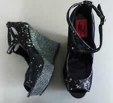WICKED SEXY BLACK SEQUIN HEELS 7.5 wedge party club prom evening dress NEW SHOE