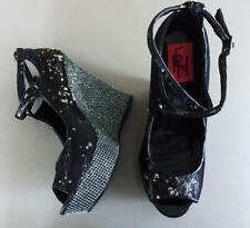 Fahrenheit Black FX Suede Studded Design High Heel Platform Ankle Boot 6-10