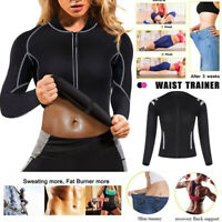 Women's Neoprene Long Sleeves Gym Sauna Vest Loss Sharper Trainer Hot Sweat Suit