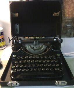 Vintage Antique 1930's UNDERWOOD Portable Typewriter wCase F712233 Elliot Fisher