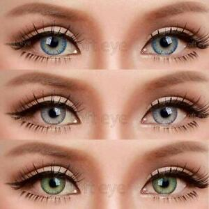 Monthly Dark Blue, Grey & Green Lens with solution and cases 3 Pair