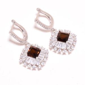 "Smokey Quartz & White Topaz 925 Sterling Silver Jewelry Earring 1.46"" T2745"