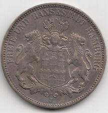 Münze 3 Mark 1908 J Silber Kaiserreich Freie und Hansestadt Hamburg Silver Coin