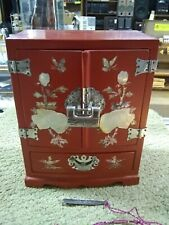 Korean red lacquer mother of pearl inlay jewelry box /chest w/lock and key