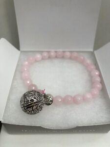 Lisa Hoffman for Origami Owl Rose Quartz Stretch Bracelet NEW BR8003 - MSRP $44