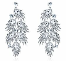 HUGE FEATHER AUSTRIAN CRYSTAL RHINESTONE DROP CHANDELIER DANGLE EARRINGS E2000S