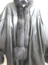 Women's,Genuine Leather, Black,Cape/Batwing/Fox Trimmed Jacket,From Turkey,XLNWT