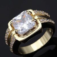 Ring Gr 64 Fingerring Gold gefüllt Herrenring Goldring Siegelring klar weiß