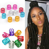 50pcs 10mm Dreadlock Beads Adjustable Hair Braid Rings Cuff Clips Tube Multi