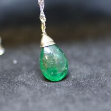 Tiny Briolette Natural Emerald Pendant in Solid 14K White Gold , May Birthstone