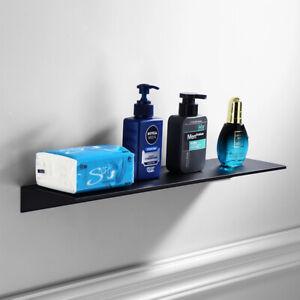 Floating Shelf Adhesive Wall Mounted Black Non-Drilling Aluminum Storage Rack