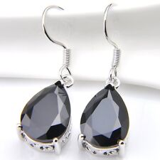 New Arrival Beauty Woman Water Drop Black Onyx Gemstone Dangle Hook Earrings